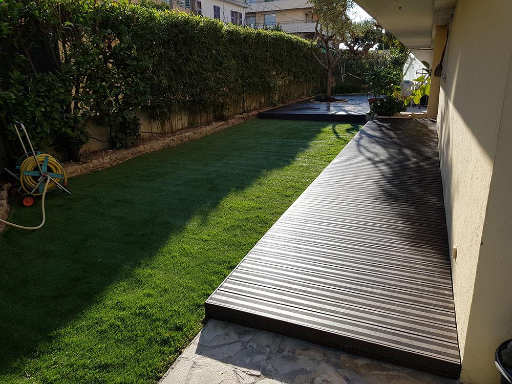 Terrasse En Lames Composite Et Pose Gazon Synthétique À Nice